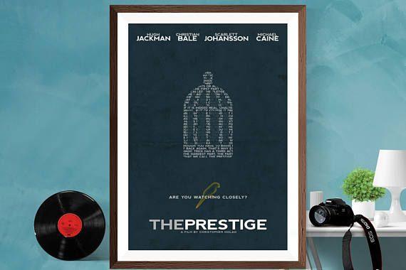 Le film de Prestige Christopher Nolan minimaliste du film Art Print affiche Hugh Jackman / Christian Bale/Michael Caine/Scarlett Johansson A2/A3/A4