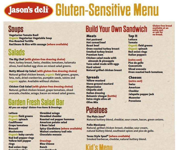 Jason's Deli GF menu items (pdf) Food and Drink Tips