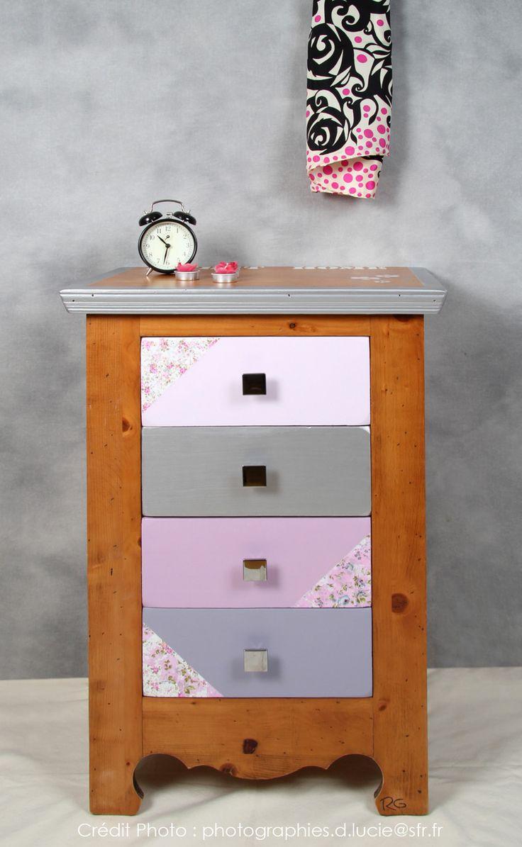 Le charme chic ... - Vendu - Meuble 4 tiroirs customisé / relooké L'Atelier de RG (créatrice d'ambiance, Ateliers DIY)