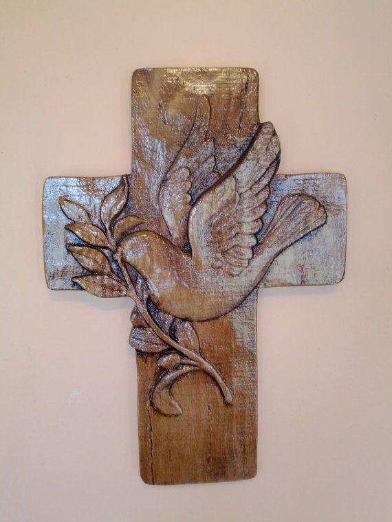 Cross with Dove and Olive Branch by MidwestCarvings on Etsy
