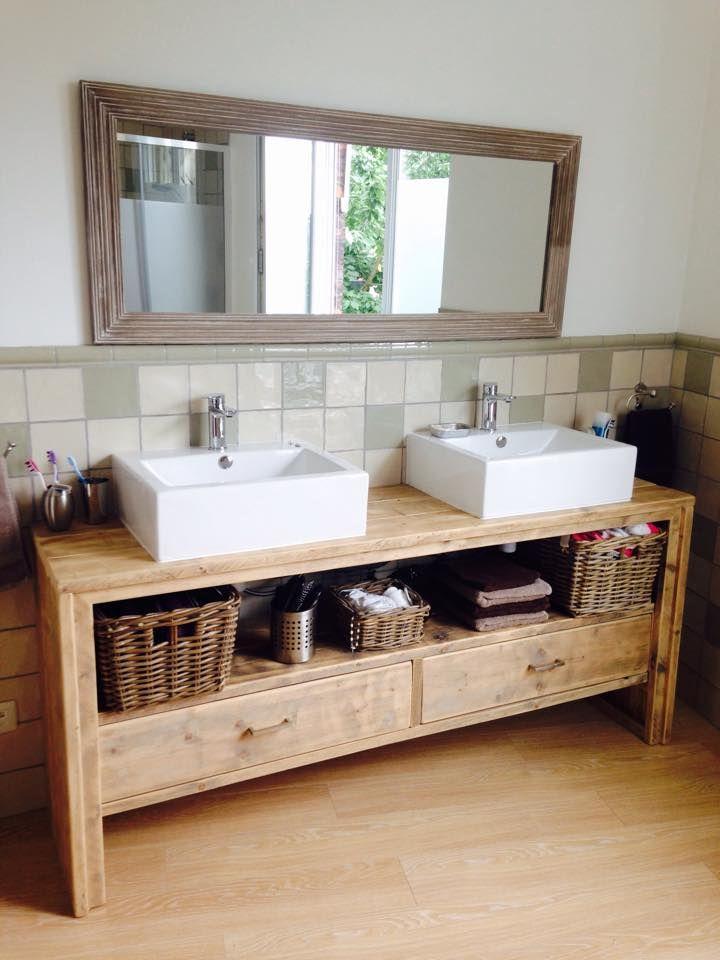 meuble salle de bain pays bois avec 2 tiroirs - Meuble Salle De Bain Unique Onde