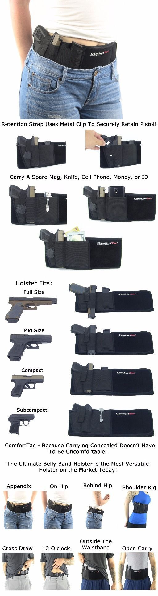 Ultimate Belly Band hand gun pistol knife Holster for Concealed Carry | Black | Fits Gun Smith and Wesson Bodyguard, Glock 19, 17, 42, 43, P238, Ruger LCP, and Similar Sized Guns | For Men and Women