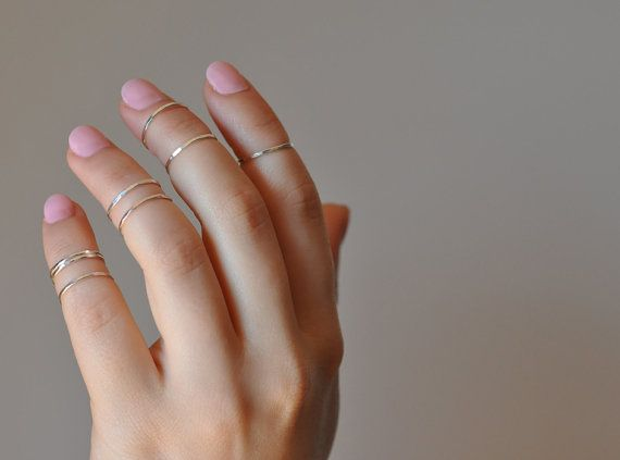 Delicate, hand-hammered sterling knuckle rings make a subtle statement.