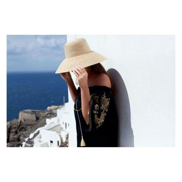 """""""Penelope""""embroidered tunic """"Melina"""" hand made hat #ancientkallos #resortwear #vacationstyle #santorini #newcollection #kaftan"""