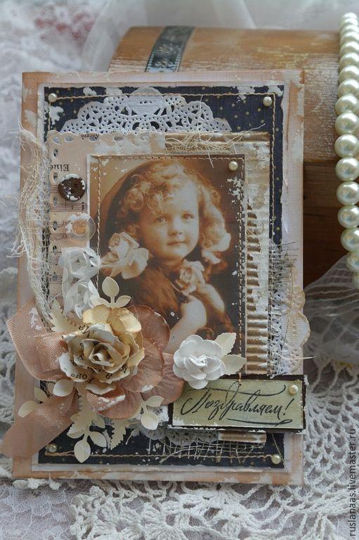 """Купить Открытка""""Винтаж""""авторская открытка ручной работы - коричневый, винтажная открытка, купить открытку, купить открытки"""