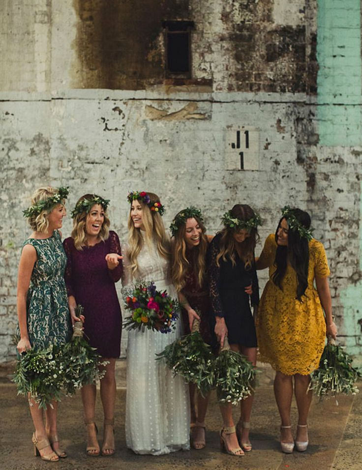 31 Real-Life Bridal Parties Who Nailed The Mix 'N' Match Look Women, Men and Kids Outfit Ideas on our website at 7ootd.com #ootd #7ootd
