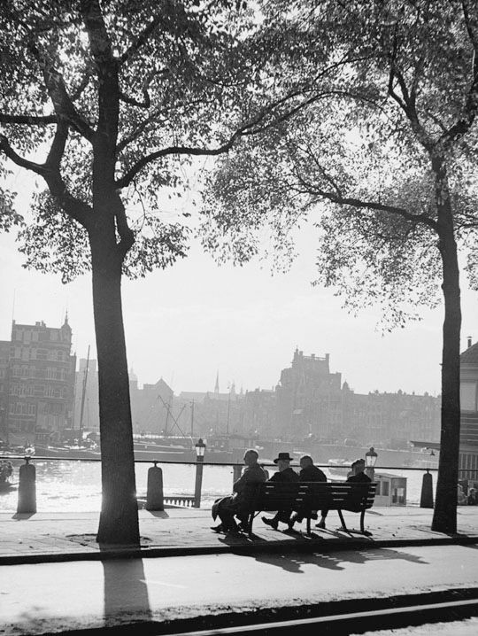 """Bench near ""Amsterdams koffiehuis"""", Amsterdam 1954. photo: Kees Scherer"
