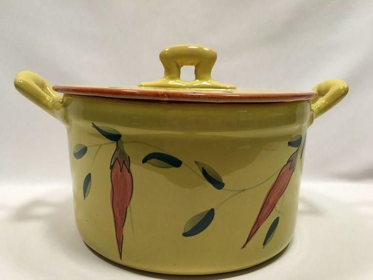 Ceramic Dutch Oven 4 QT Pot Ceramiche Virginia Yellow 8″ x 5″ Round Italy #CeramicheVirginia