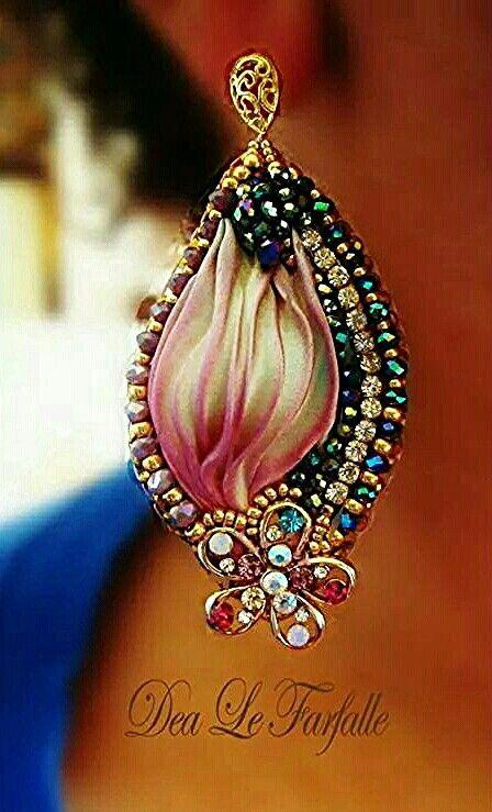 Dea Le Farfalle Jewellery Shibory Silk Bead Embroidery