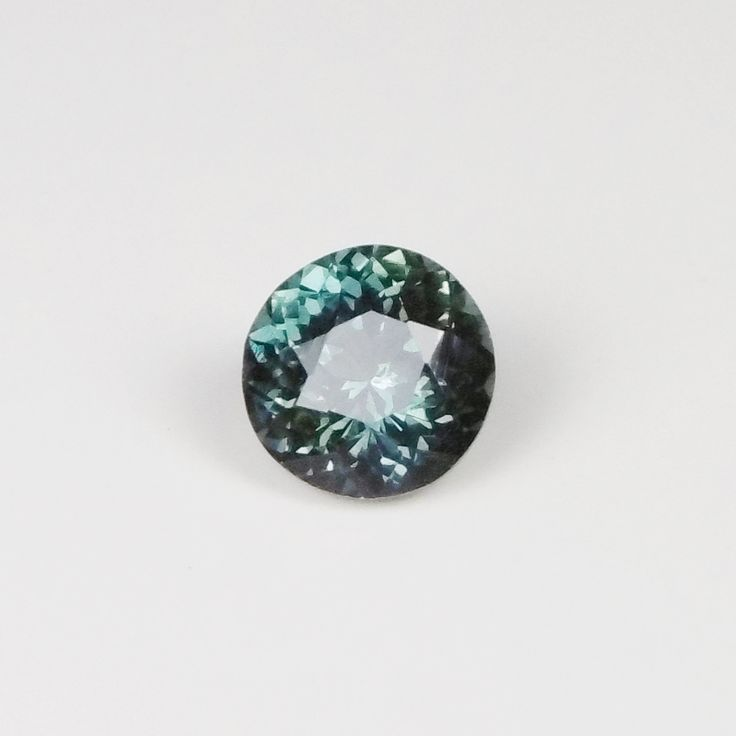 Blue/Green (Teal) Sapphire 1.35ct 6.3mm Round, 4.4mm Deep. Heated