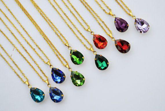 SALE Dainty Crystal Drop Necklace Teardrop by EllaHandmadeUnuque