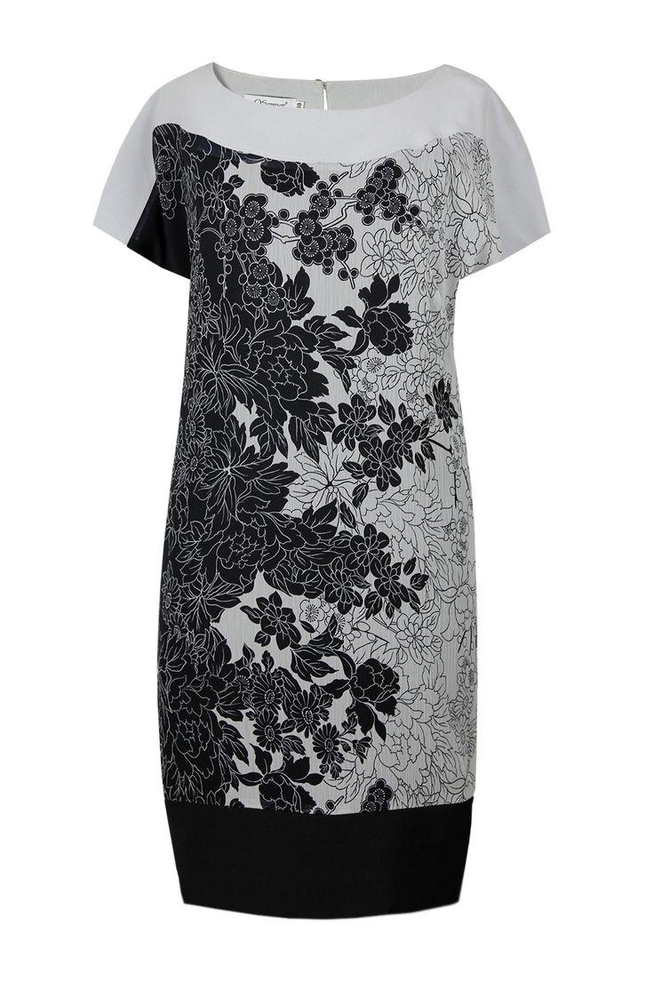Suknia Fabiane szaro-czarne kwiaty Semper  #dress #summer2016 #floral #grey #trendy #fashion2016 #fashionbrand #red #elegance #elegant #designer #brand #casual #printed #silk