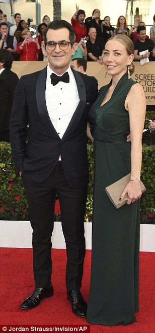 Couple's night: Hugh Grant and partnerAnna Eberstein were a coordinated couple, Ty Burrell brought wife Holly and Luke Hemsworth brought wife Samantha
