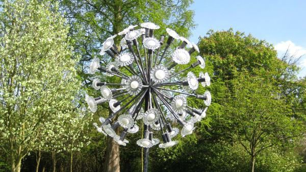 A sculpture titled 'Dandelion (Massive Clock Glass Seed Head Yard statue)' by artist Jenny Pickford in the category Garden Or Yard / Outside and Outdoor Sculptures. This sculpture has the dimensions of 3 x 2.5 m and the sculpture is sculpted from a medium of 'Forged steel and blown glass'. It is available to buy.Forged Steel and Glass Big Dandelion statues For Sale sculptures or statues For Outside Outdoors in the Wilderness or Garden By the acknowledged Expert in this G...