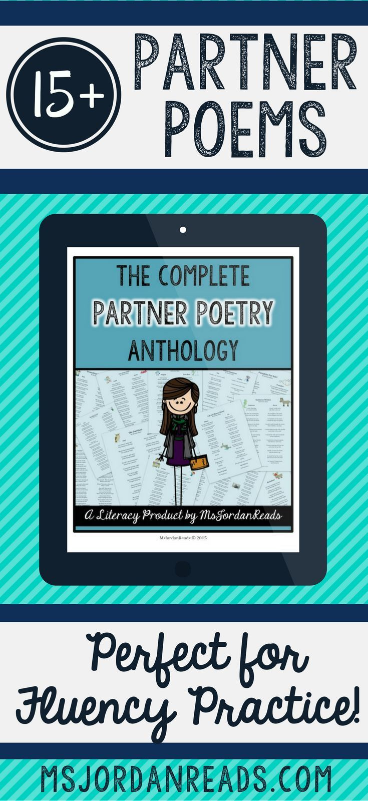 An interactive collection of partner poems for fluency | 15+ poems in this original partner poetry collection by @MsJordanReads | Each partner poem is readers theater style and perfect for teaching and practicing fluency in the classroom! Print them out o