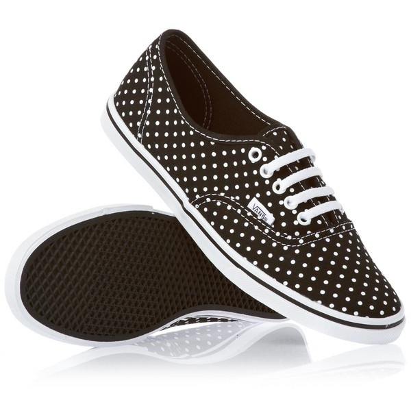 Vans Authentic Lo Pro Shoes Polka Dot Black/True White ($73) ❤ liked on Polyvore