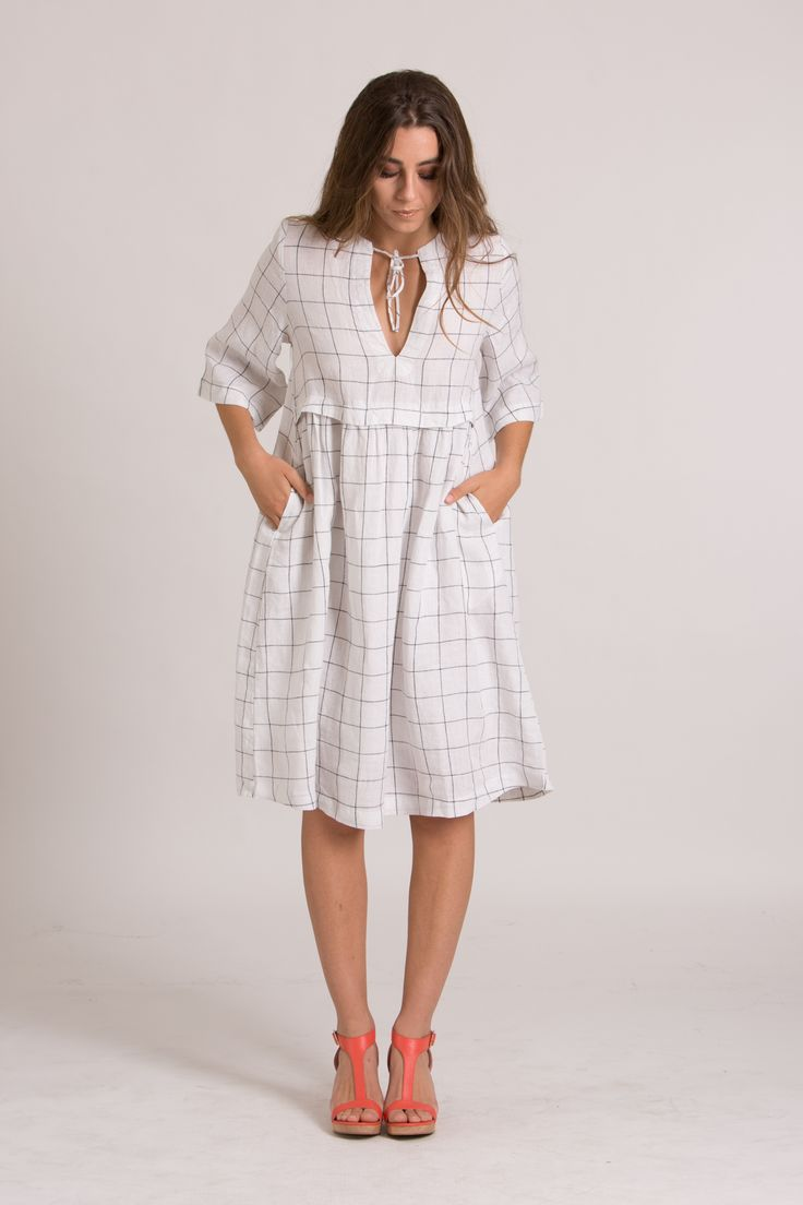 WILLOW DRESS - ivory check