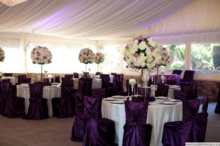 plum chair covers wil really pop against white table cloths and napkins and light lavender overlays. gorgeous!