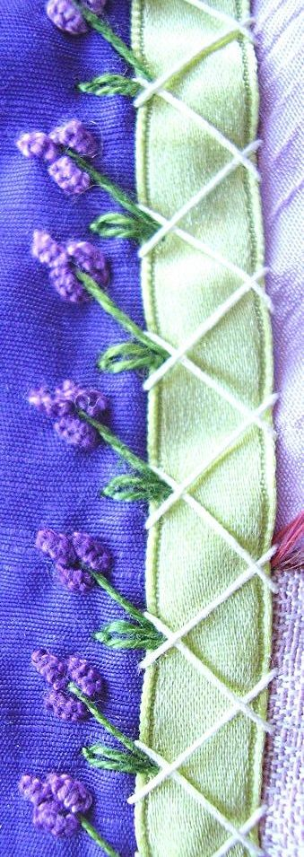 "Crazy Quilt Embroidery Stitches from crazyQstitcher: ""Herringbone (crochet cotton), straight, detached chain and cast-on stitches in DMC perle. ...the second detail of straight sts and French knots/beads over lace."""