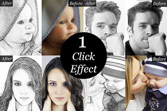 Sketch Artist-Photo to Sketch effect by Made by Mancie on @creativemarket