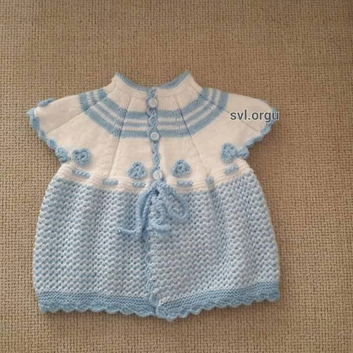 Isn' this baby vest sweet? ~~ White and powder blue. Yoke. Crochet accents.