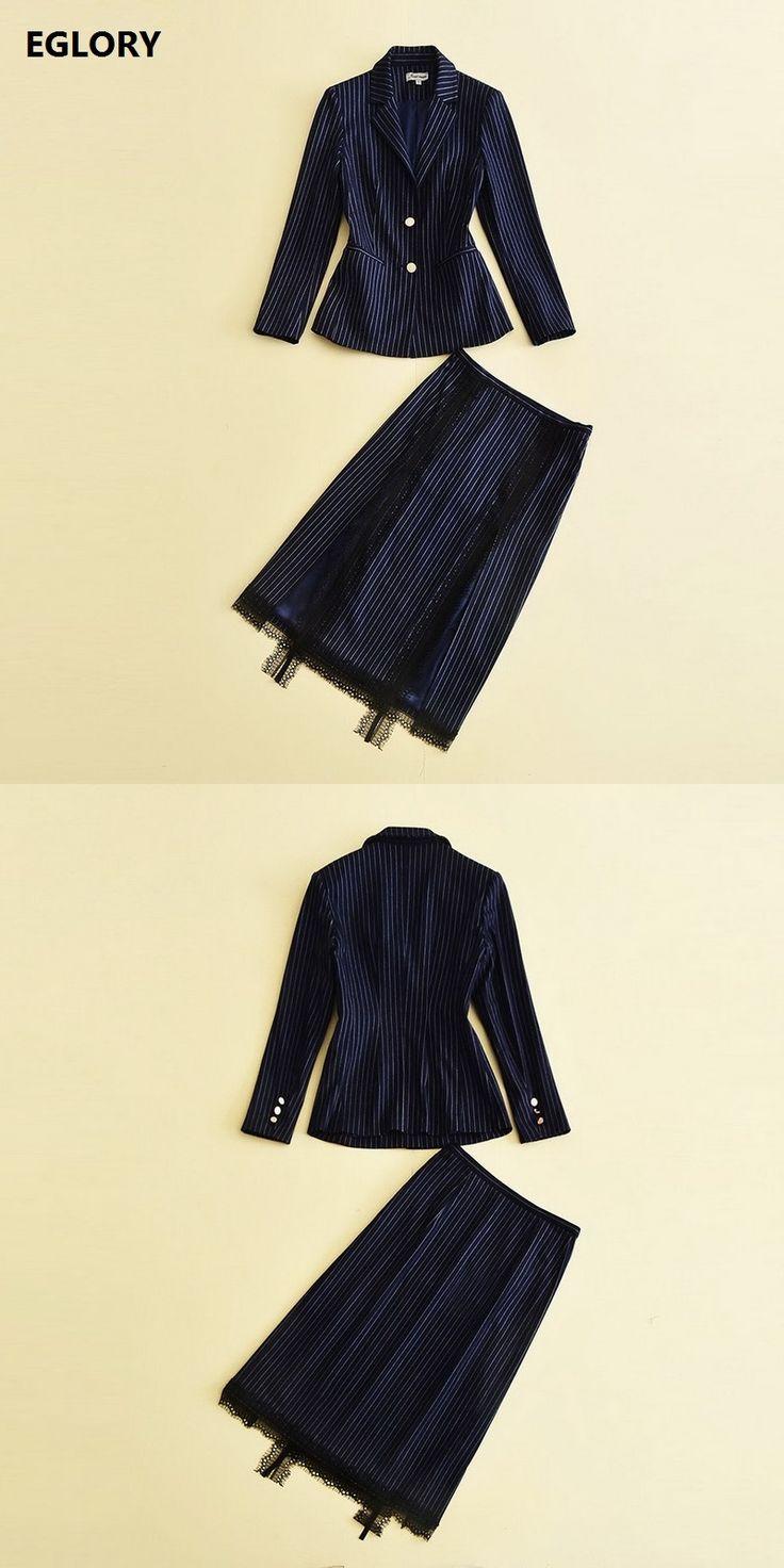2017 Autumn New Office Suits Skirt Set 2 Piece Women Notched Collar Striped Print Blazer Coat+Lace Patchwork Midi Pencil Skirts