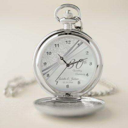30th Pearl Wedding Anniversary Design Pocket Watch - anniversary cyo diy gift idea presents party celebration