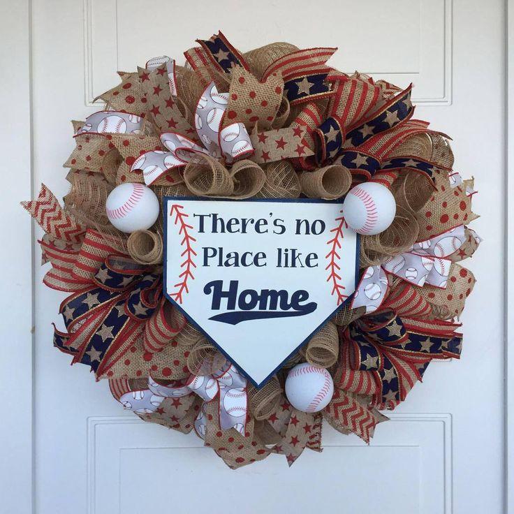 Baseball Wreath, Homeplate Wreath,Burlap Mesh Baseball Wreath,  No Place like Home Wreath, Baseball Theme Wreath, Summer Wreath by NanasSillyNotions on Etsy