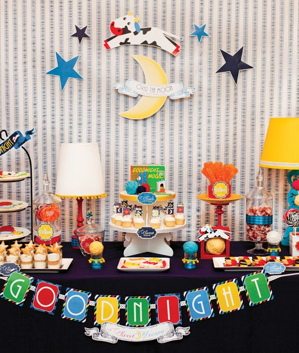 "Goodnight Moon Baby shower theme Free Dessert Table Downloads include: mini cupcake toppers, food/drink flags, decorative labels (used on the candy jars & plates), ""GOODNIGHT"" garland, and small decorative banners, and hanging stars and ribbon banner from the backdrop. books gifts boy girl dreams cows nursery rhyme"