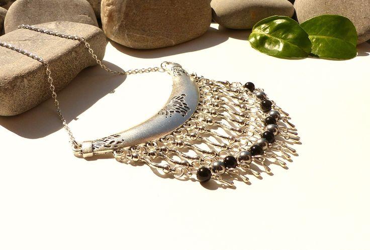Collier en obsidienne noire et hématite, collier obsidienne et perles d'hématite, bijou hippie chic perles naturelles, collier créateur : Collier par lapassiondisabelle