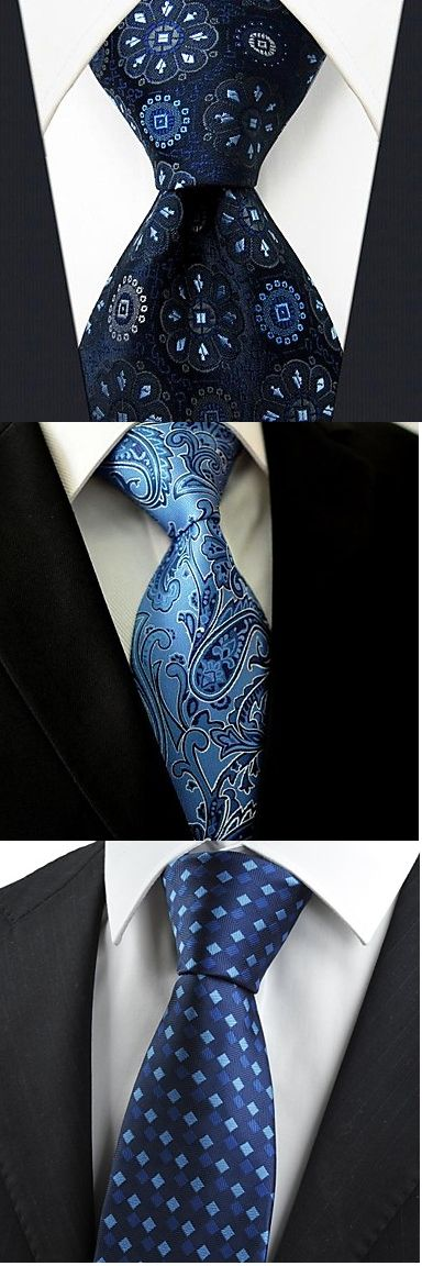 There is nothing sexier than a man wearing a tie! Get one of these nice silk navy blue neckties for your boyfriend / husband! Just click on the picture to see more!