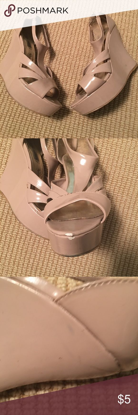 Steve Madden platform sandals Patent man made material.  With wear but still fun to wear.  Please review pictures.  From smoke and pet free home.  Fast shipper. Steve Madden Shoes Platforms