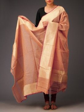 Peach Booti Banarasi Cotton Dupatta