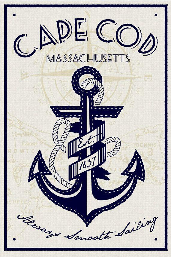 Cape cod ancre sérigraphiés affiche massachusetts nautique rétro vintage sérigraphie
