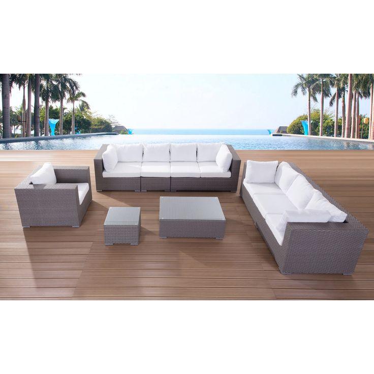 Velago Modern Outdoor Furniture Maxima Wicker Lounge Set (Grey), Size  7 Piece Part 77