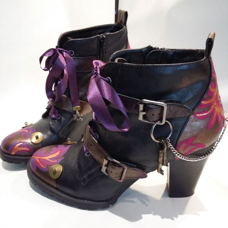 Steampunked Handpainted Leather-look Ladies Ankle Boots, Size UK 7, Unique & Upcycled Footwear for a Lady Explorer. by Relovelydesign on Etsy