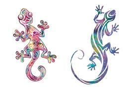 Colourful gecko lizard tattoos