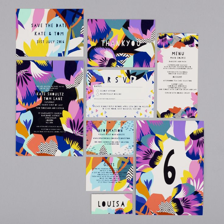 This gorgeous bright and bold floral wedding stationary is a licensed design from the talented Kitty McCall and is perfect for any contemporary wedding.Featurin