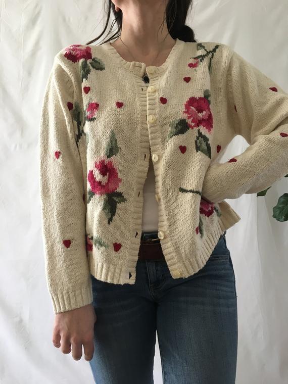 90s Small vintage fashion | women cardigan brown cardigan vintage cardigan