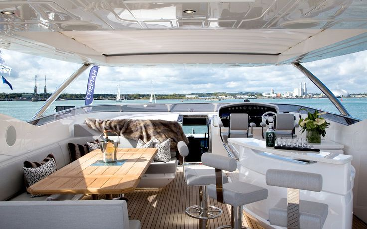 Enhancing the pure sense of luxury aboard this stunning Sunseeker 95 Yacht, we dressed the flybridge with a faux-fur throw and stylish @kirkbydesign fabric cushions to offer another layer of glamour and indulgence.