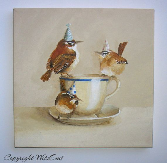 'CAROLINA'S TEA PARTY'. Birds Tea Party painting original ooak wrens fantasy by 4WitsEnd, via Etsy. SOLD