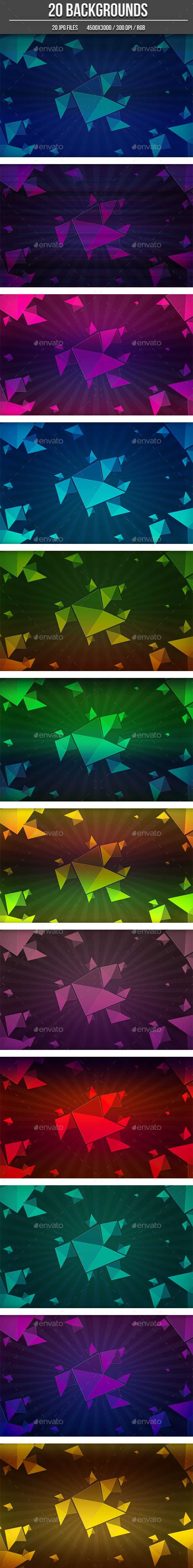 20 Abstract Background Shapes by MrSoundFX 20 Abstract Backgrounds 20 high quality background for your projetcs. Works well with flyers, web design, etc鈥?20The Zip file conta