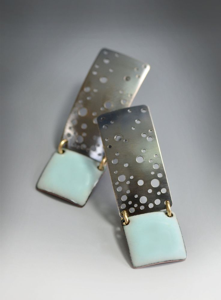"Pastel Blue Starry Night Enamel Earrings"" Enameled Earrings Created by Reiko Miyagi Fabricated sterling silver post earrings with a touch..."