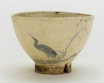 Odo ware tea bowl with design of heron and reeds  18th-19th century, Edo period  Stoneware with cobalt pigment under clear glaze