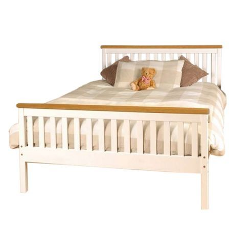 Comfy Living 4ft6 Double Slatted Bed Frame in White with Caramel Bar