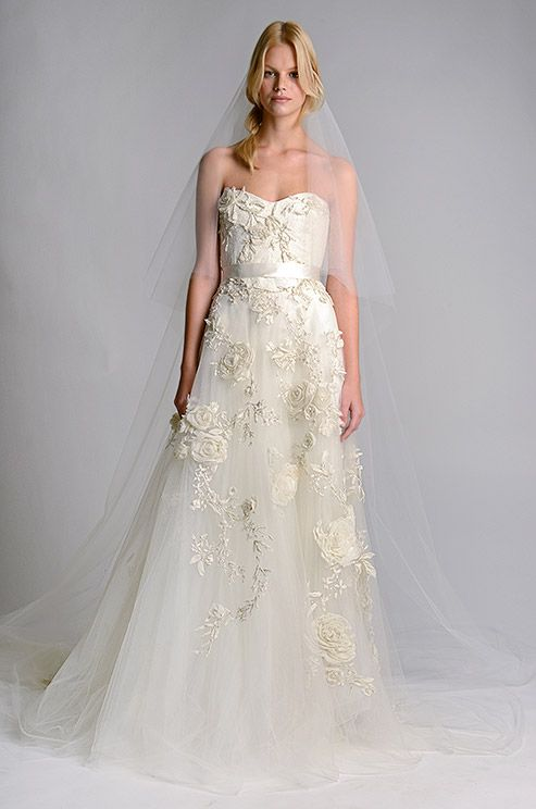Stunning Fl Textured Wedding Dress Marchesa Fall 2017