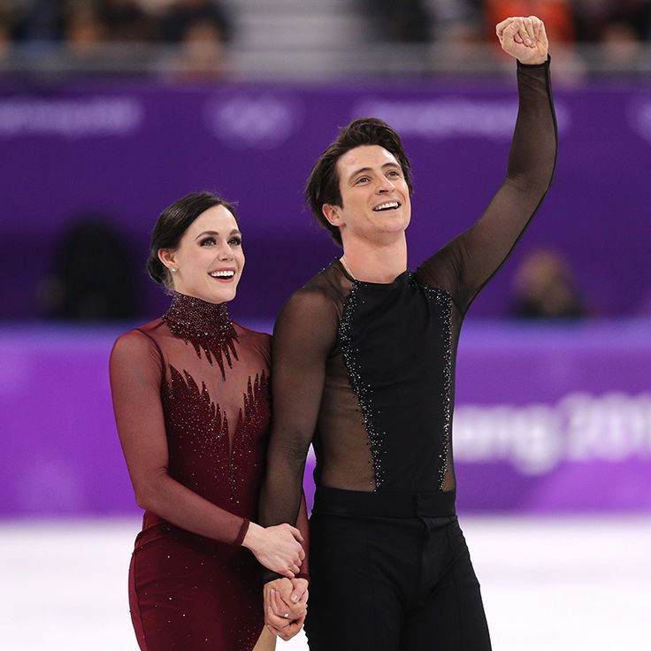 """The 28-year-old and her 30-year-old partner were clearly ecstatic to have made it through their final routine so flawlessly. Of her chemistry with Scott, Tessa told Hello!, """"The chemistry and connection Scott and I share on the ice stems from a shared love of movement, musicality and storytelling.""""  Photo: © Getty Images"""
