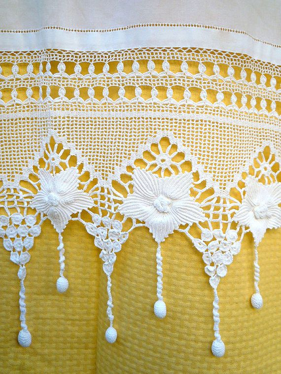 Handmade crochet curtain with atrante and lace  by naxosart, €20.00