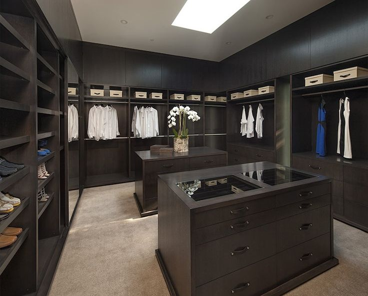 Have your walk in closet all black/darker tones pretty much like this closet has. Except for the hints of purple.
