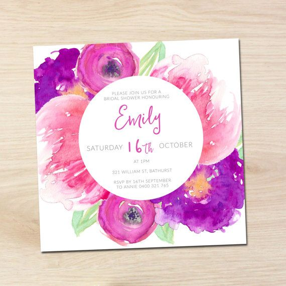 Bridal Shower Invite - Save the Date - Baby Shower -  Watercolour - Flowers - Blossoms